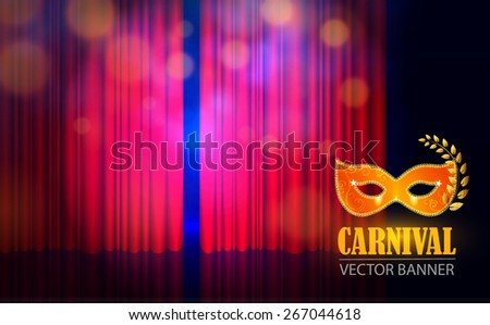 Spotlight on stage curtain with mask. Vector illustration - stock vector