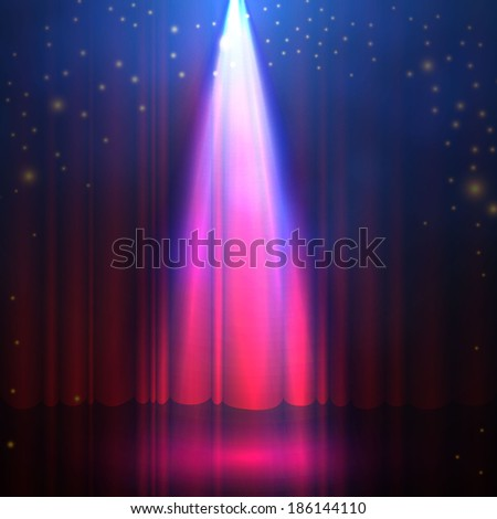 Spotlight on stage curtain with smoke & lights. Vector illustration.  - stock vector