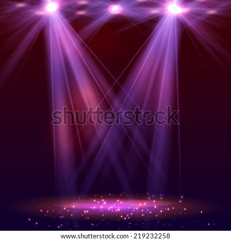 Spotlight on stage with smoke and   light. Vector illustration. - stock vector