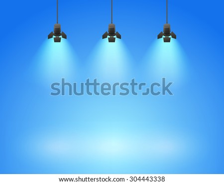 Spotlight photo studio blue background with spot - vector illustration - stock vector