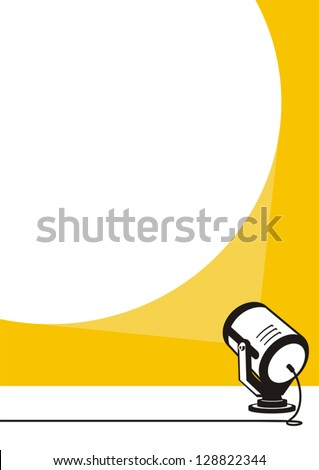 Spotlight projecting to blank wall - stock vector