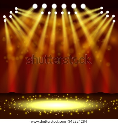 Spotlight shining in front of a show event
