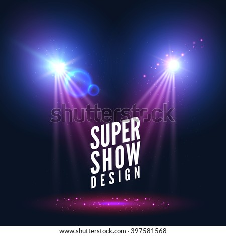 Spotlights empty scene. Illuminated stage design. Show background with lights special effect.light.  Stage spotlight,  spotlight background,  stage lights,  spotlight effect - stock vector