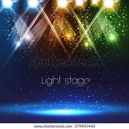 Spotlights on stage easy editable - stock vector