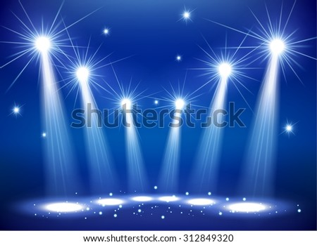 Spotlights on stage with smoke & light - stock vector