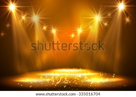 Spotlights on stage with smoke  light. Vector illustration. - stock vector