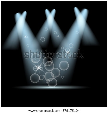 Spotlights on stage with smoke & light. Vector illustration. - stock vector