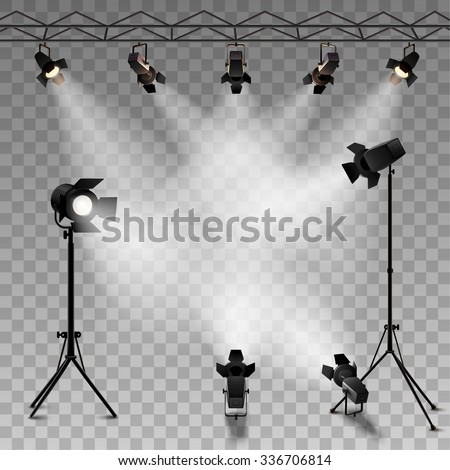 Spotlights realistic transparent background for show contest or interview vector illustration  - stock vector