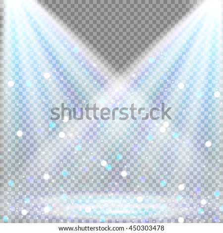 Spotlights scene light effects. Vector illustration