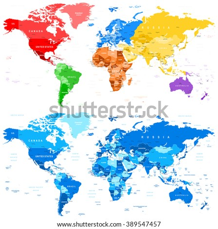 Spotted Color and Blue World Map - borders, countries and cities - illustration  Image contains next layers: - land contours - country and land names - city names - water object names