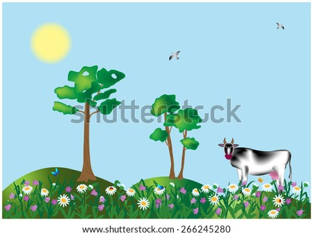 spotted cow in a meadow