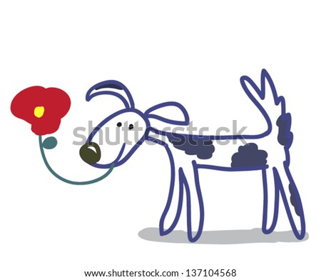 spotted dog cartoon with red flower isolated on white background - stock vector