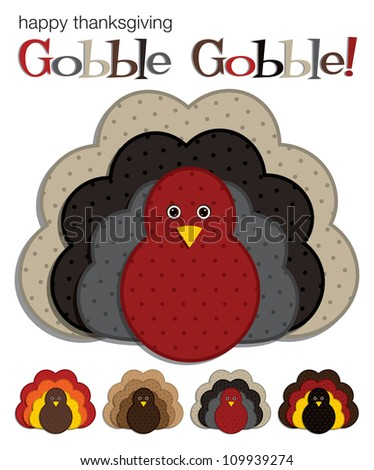 Spotted turkey stickers in vector format. - stock vector