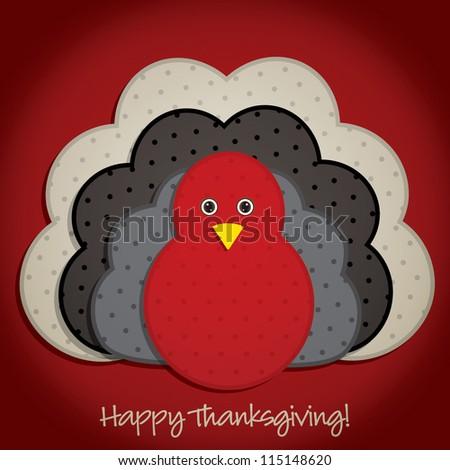Spotty turkey Thanksgiving card in vector format. - stock vector