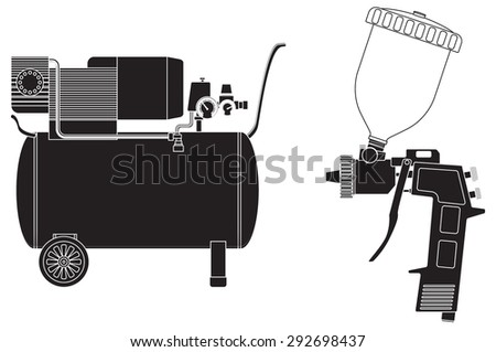 Spray gun, Air compressor. Vector Illustration isolated on white background.