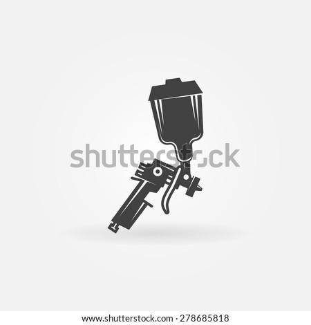 Spray gun icon or logo - black vector sign - stock vector