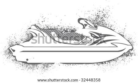 Spray Paint Big Jet Ski - stock vector
