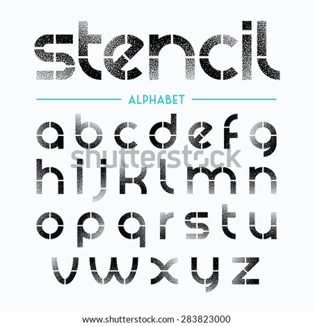 Spray painted stencil alphabet letters. Vector. - stock vector