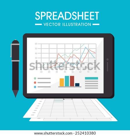 Spreadsheet design, vector illustration. - stock vector