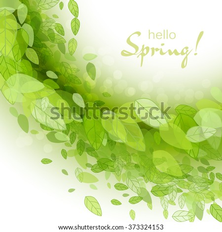 Spring Abstract Background Vector Illustration Design Element With Green Leaves Season