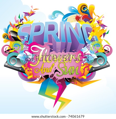 spring abstract text illustration