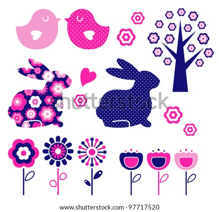 Spring and easter design elements set ( vector ) - stock vector