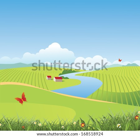 Spring and summer farm and grass background. EPS 10 vector, grouped for easy editing. No open shapes or paths. - stock vector
