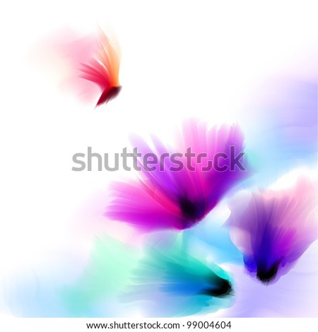 Spring and summer floral watercolor background vector - stock vector