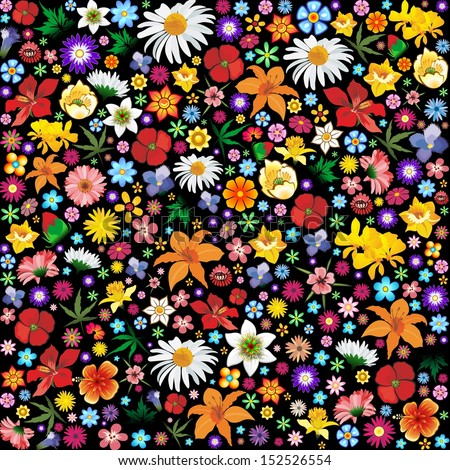 Spring and Summer Flowers Pattern - stock vector