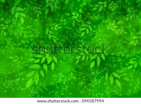 Spring and summer vector grunge green watercolor background with leaves and tree branches.