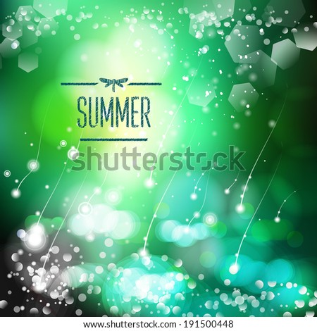 Spring and summer watercolor nature background with shining sparks and bokeh. Vector Illustration, Graphic Design Editable For Your Design.  - stock vector