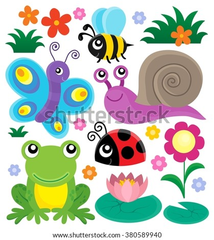 Spring animals and insect theme set 1 - eps10 vector illustration. - stock vector