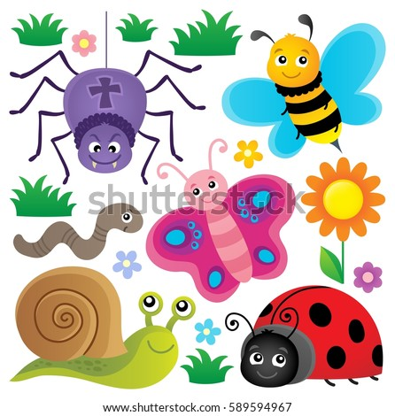 Spring animals and insect theme set 3 - eps10 vector illustration.