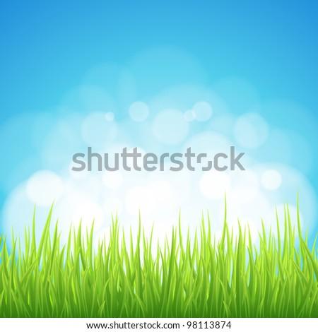 Spring background. Abstract backdrop with green grass. Bokeh design. - stock vector