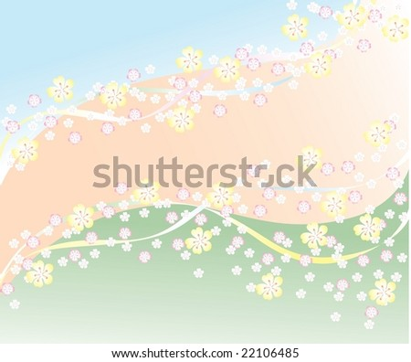 Spring background, all parts closed, editing is possible. - stock vector