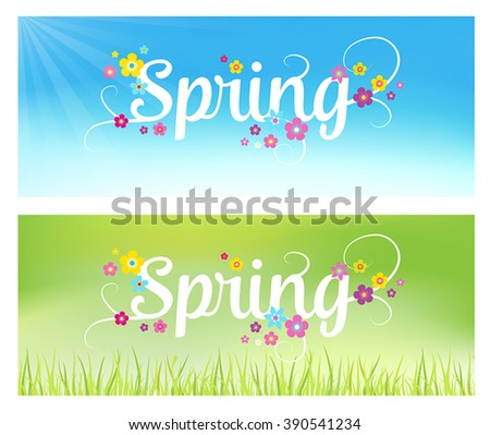 Spring background - banners with flowers. Can also be used as a sales poster. Seasonal vector illustration with typographical lettering. - stock vector