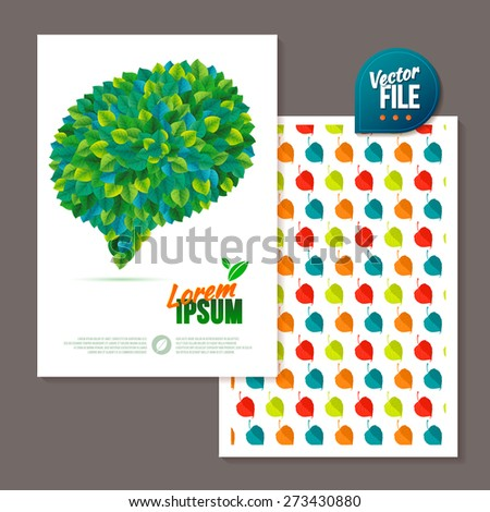 Spring background/card with green leaf bubble. Nature green leaves. Vector leaves abstract background. Summer Bubble for speech. Vector template 2-sided Card - stock vector