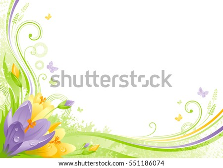 Spring background. Easter Mothers day Birthday. Snow crocus flower grass, leaf, butterfly, abstract wave line swirl, grunge floral pattern. Isolated vector illustration. Happy springtime greeting card