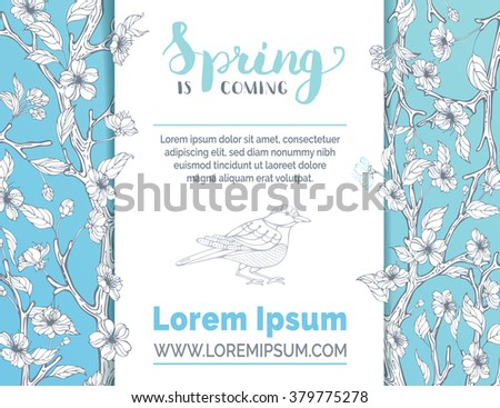 Spring background. Vector card template. Hand-drawn blossoms on tree branches. Hand-written brush lettering. There is place for your text on white background. - stock vector
