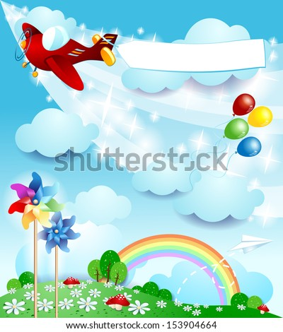 Spring background with airplane, vector - stock vector