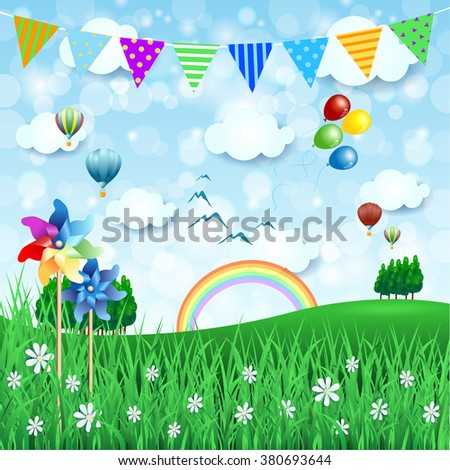 Spring background with balloons and festoon. Vector illustration  - stock vector