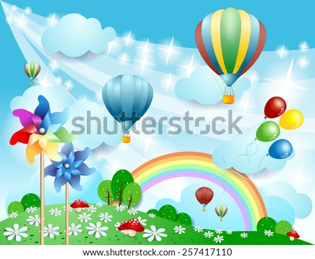Spring background with balloons and pinwheels, vector eps10 - stock vector