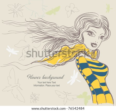 Spring background with beautiful girl - stock vector