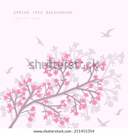 spring background with blooming branch and birds
