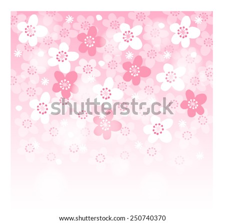 Spring background with blooming japanese cherry tree, vector illustration  - stock vector