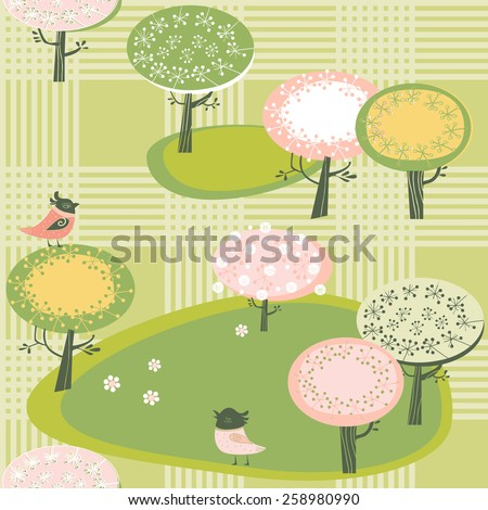 Spring background with blooming trees - stock vector