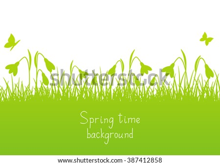Spring background with clover silhouettes