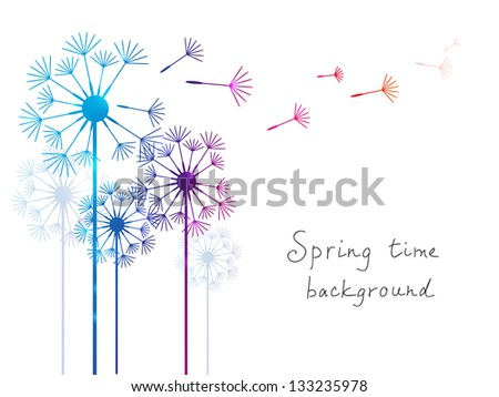 Spring background with dandelions on white - stock vector