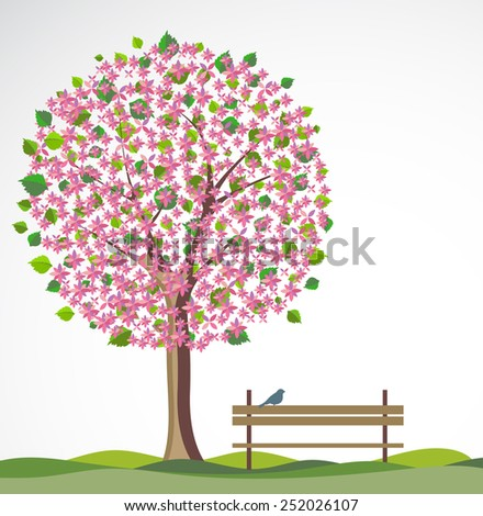 Spring background with flowering tree.