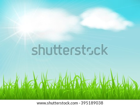 Spring background with green early spring grass on blurred soft background. Grassland blurred background with sun rays on blue cloudy sky. Vector illustration.
